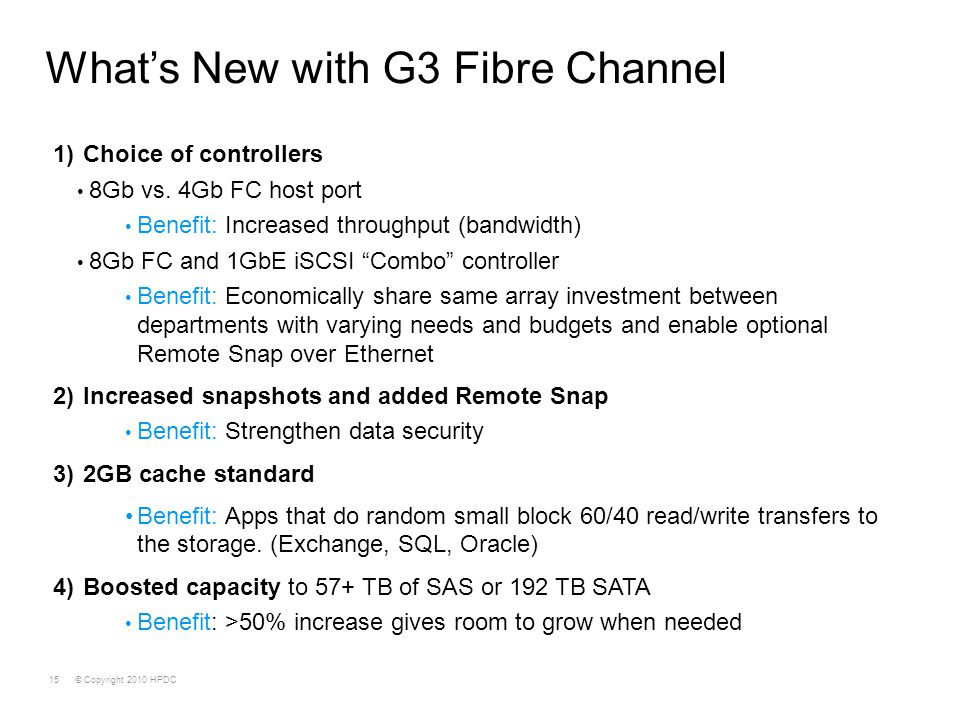 What's New with G3 Fibre Channel