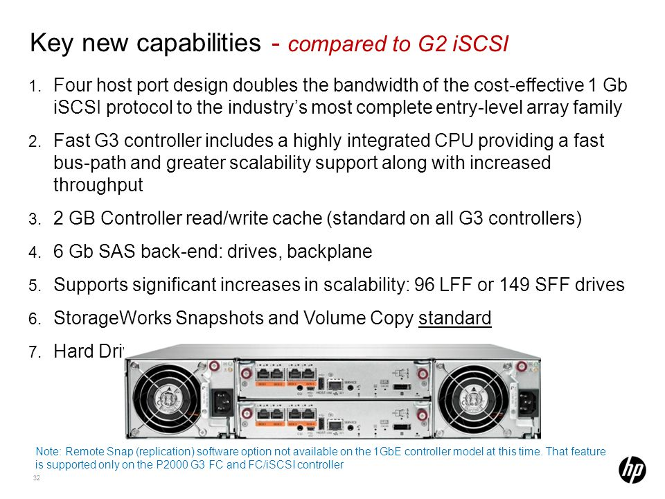 Key new capabilities - compared to G2 iSCSI