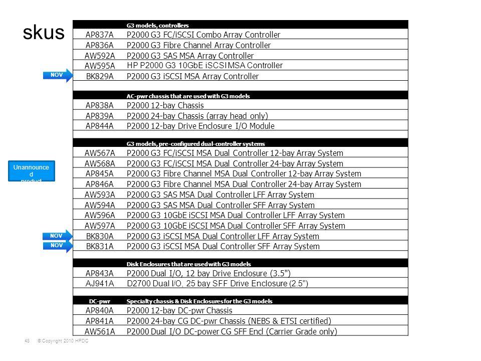 skus AP837A P2000 G3 FC/iSCSI Combo Array Controller AP836A