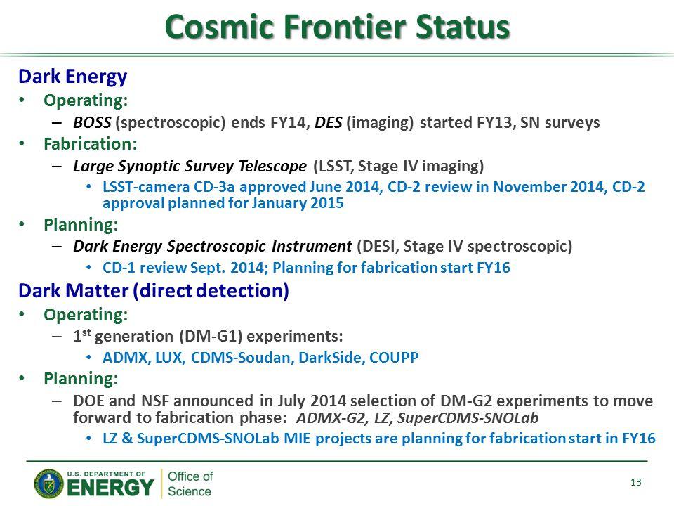 Cosmic Frontier Status