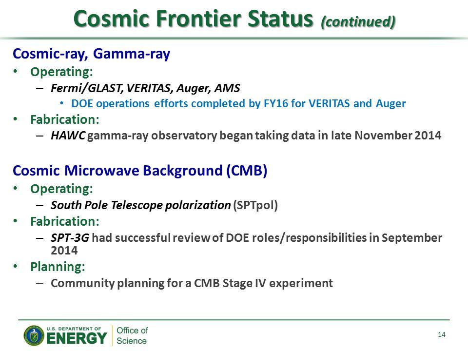 Cosmic Frontier Status (continued)