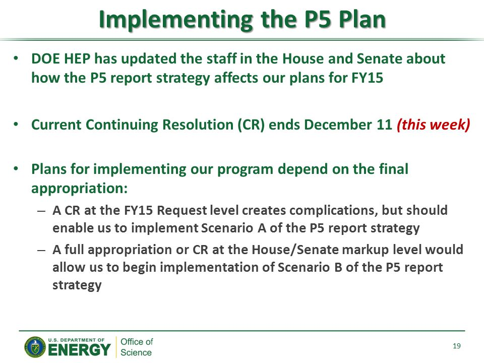 Implementing the P5 Plan