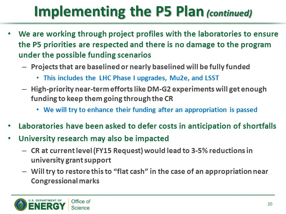 Implementing the P5 Plan (continued)