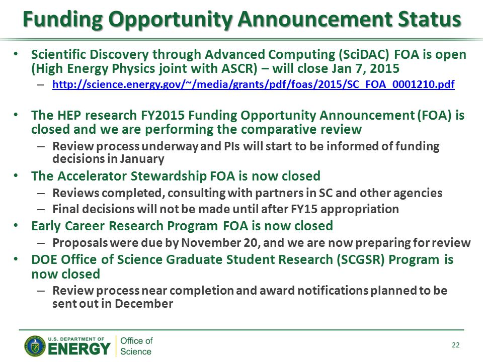 Funding Opportunity Announcement Status