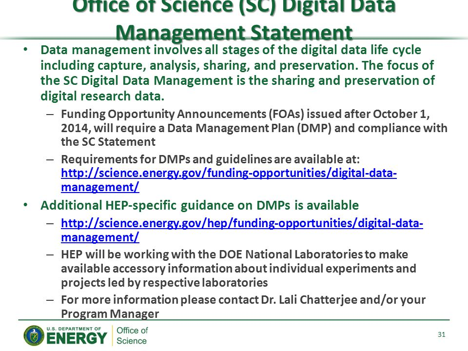 Office of Science (SC) Digital Data Management Statement
