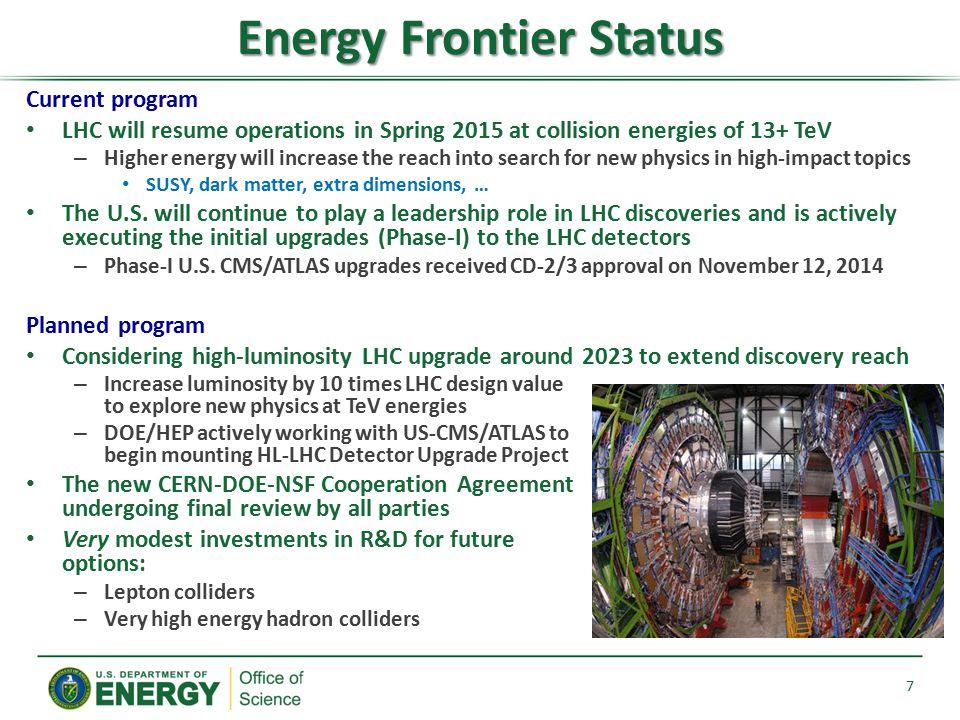 Energy Frontier Status
