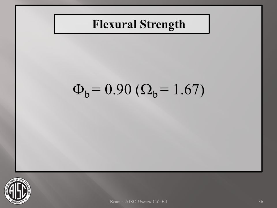 Fb = 0.90 (Wb = 1.67) Flexural Strength Beam – AISC Manual 14th Ed