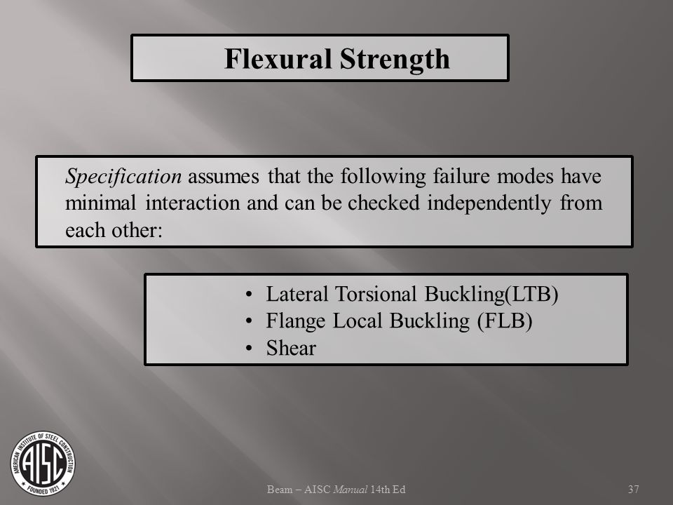 Flexural Strength Specification assumes that the following failure modes have minimal interaction and can be checked independently from each other: