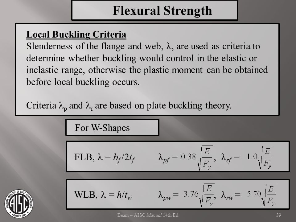 Flexural Strength Local Buckling Criteria