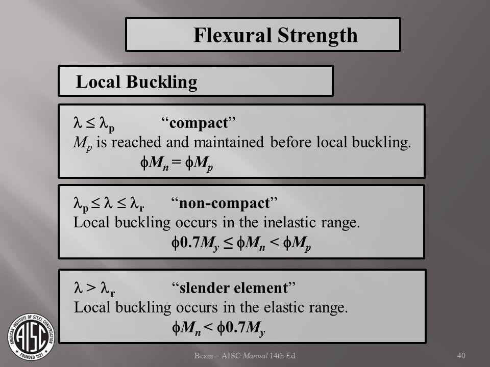 Flexural Strength Local Buckling   p compact