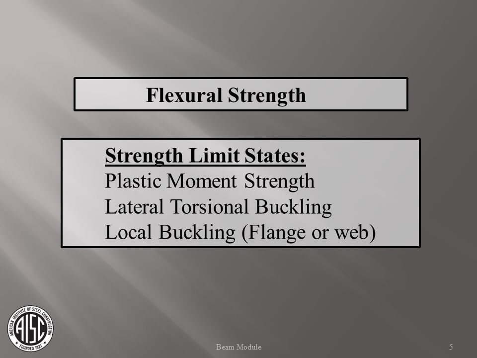 Strength Limit States: Plastic Moment Strength