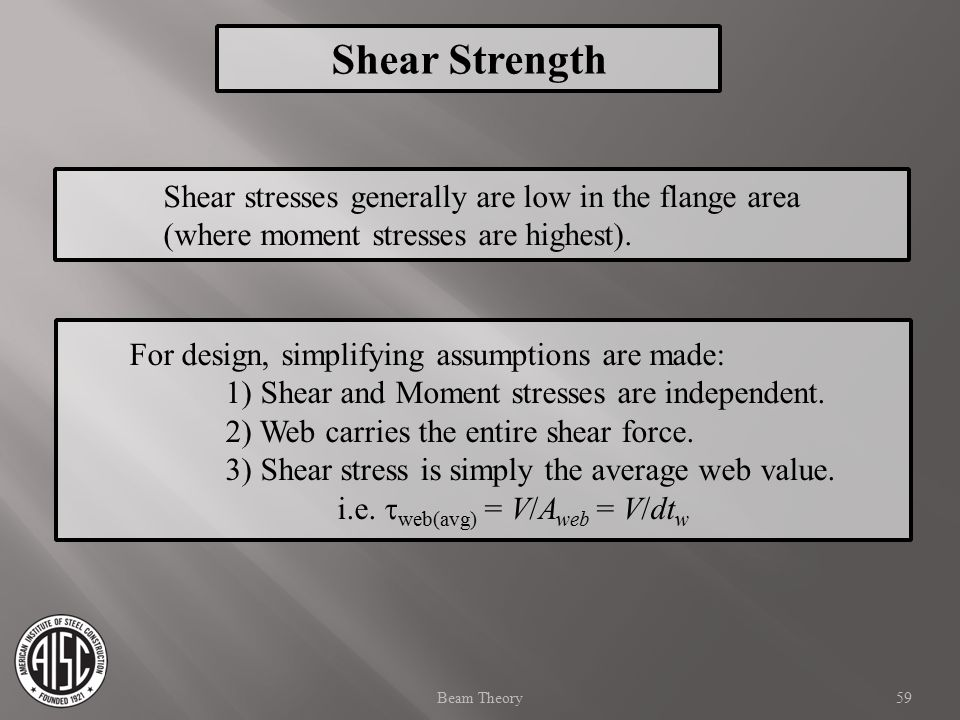 Shear Strength Shear stresses generally are low in the flange area