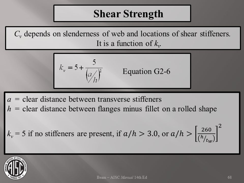 Shear Strength Cv depends on slenderness of web and locations of shear stiffeners. It is a function of kv.