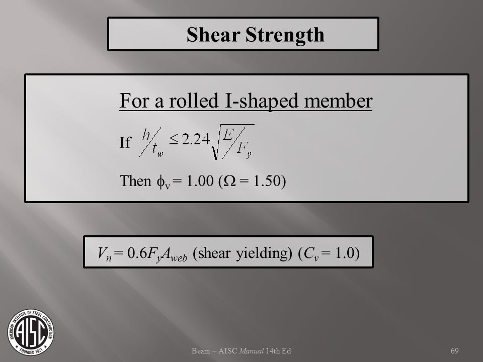 For a rolled I-shaped member