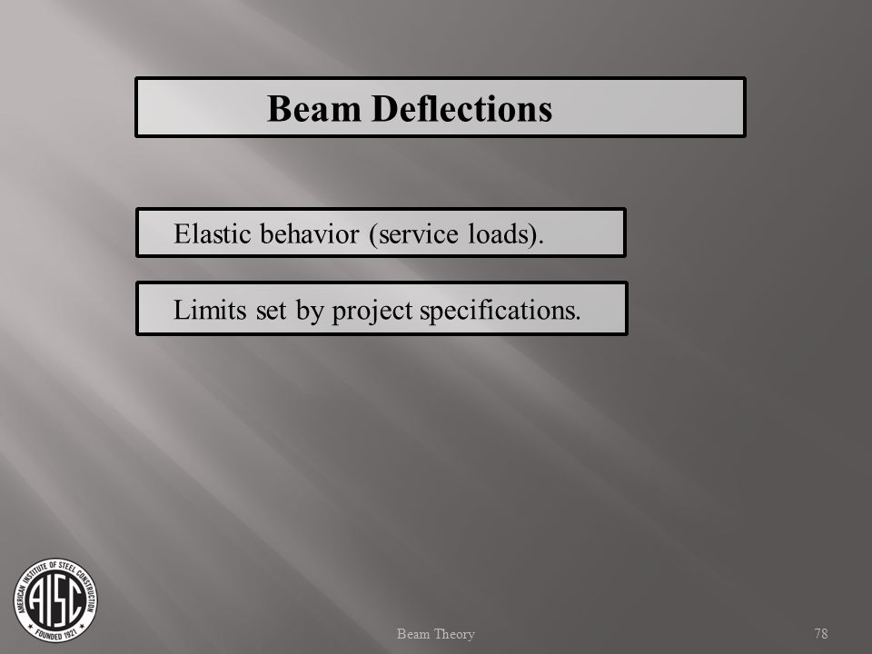 Beam Deflections Elastic behavior (service loads).