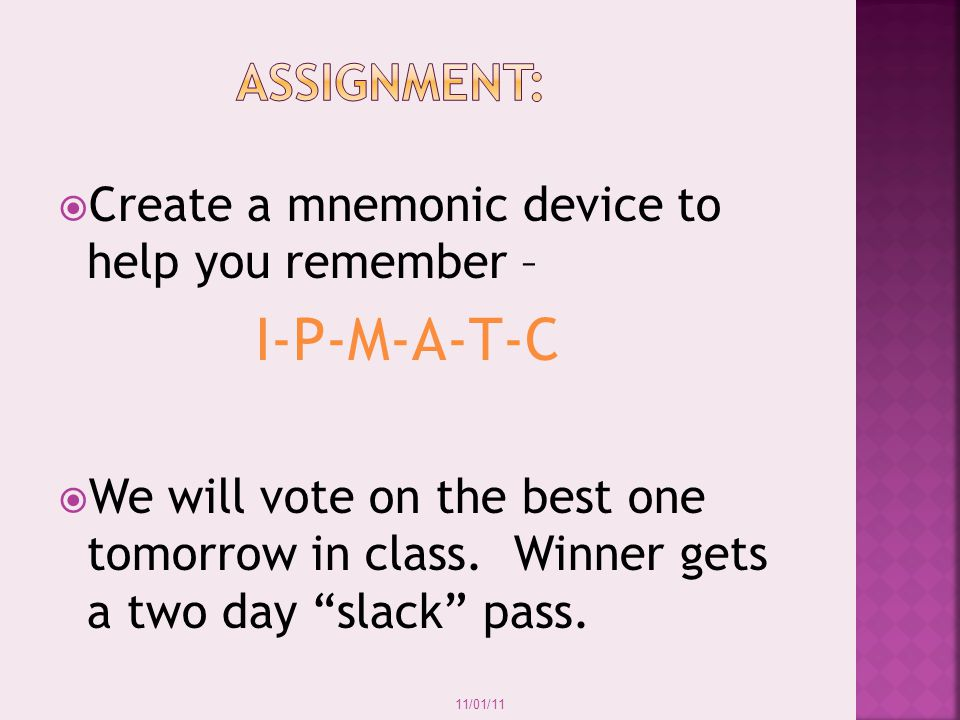 I-P-M-A-T-C Assignment: