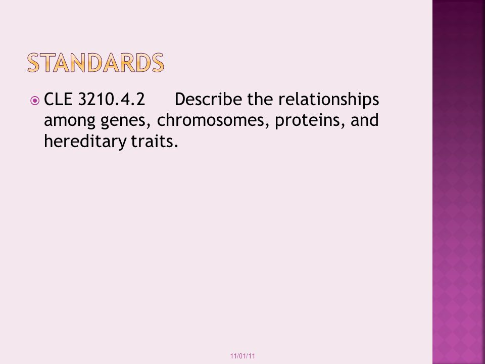 standards CLE 3210.4.2 Describe the relationships among genes, chromosomes, proteins, and hereditary traits.