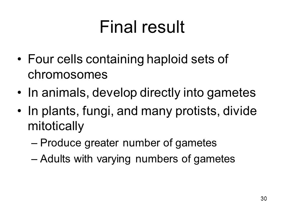 Final result Four cells containing haploid sets of chromosomes