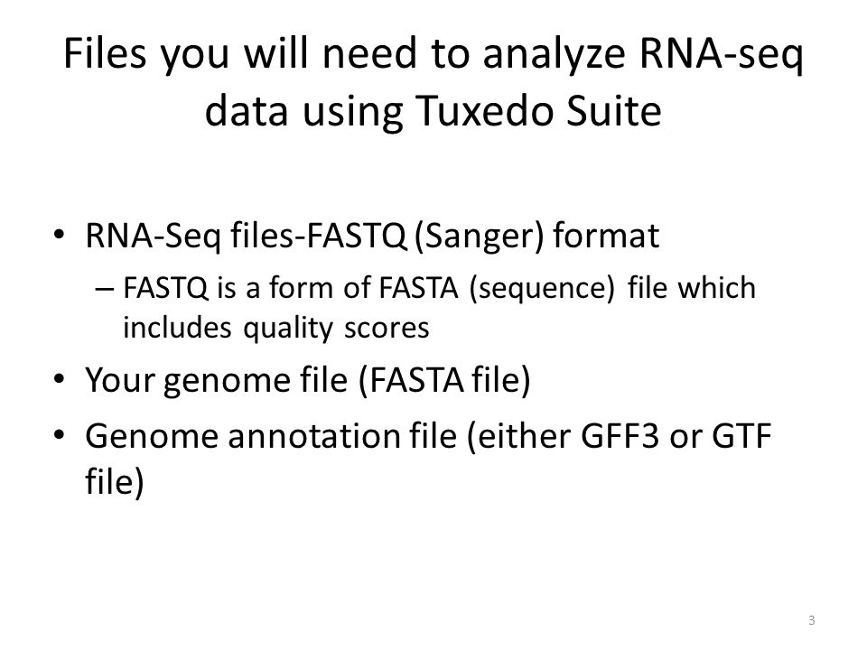 Files you will need to analyze RNA-seq data using Tuxedo Suite