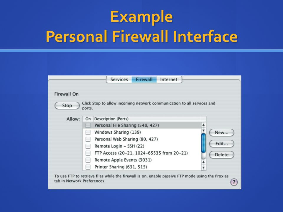 Example Personal Firewall Interface