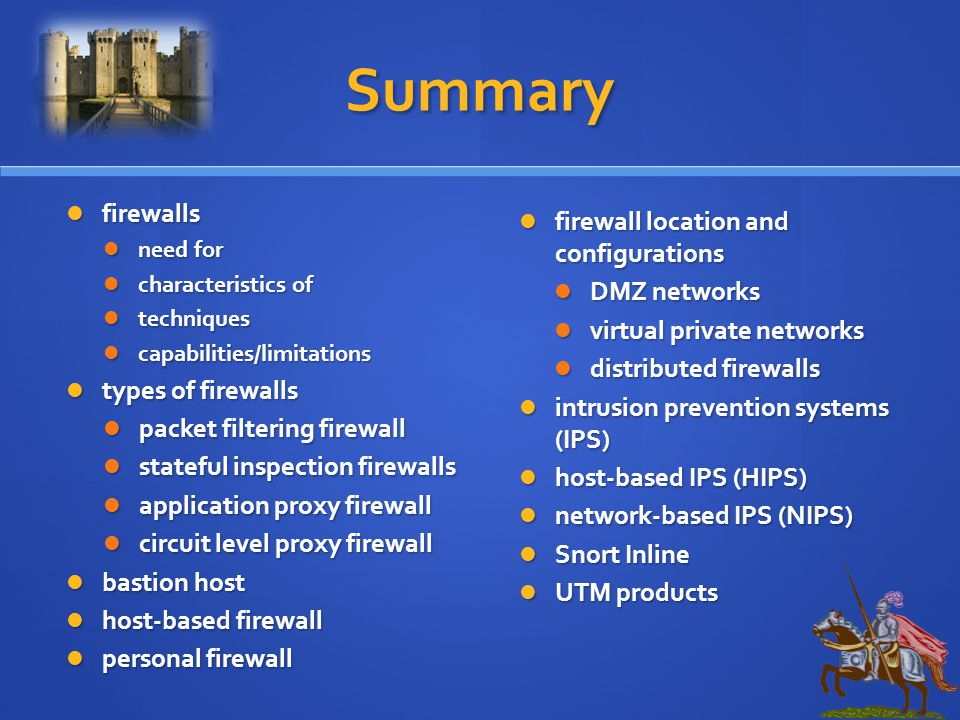 Summary firewalls firewall location and configurations DMZ networks