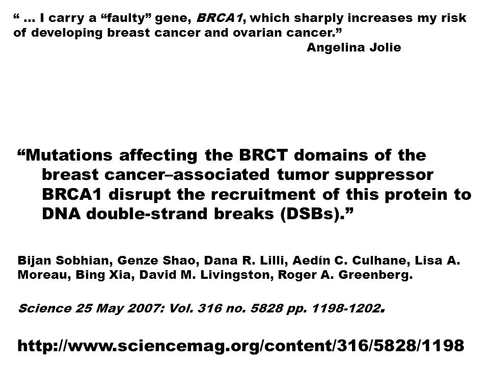 … I carry a faulty gene, BRCA1, which sharply increases my risk of developing breast cancer and ovarian cancer.