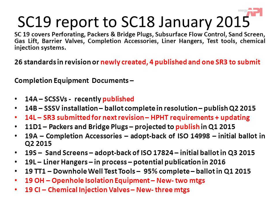 SC19 report to SC18 January 2015