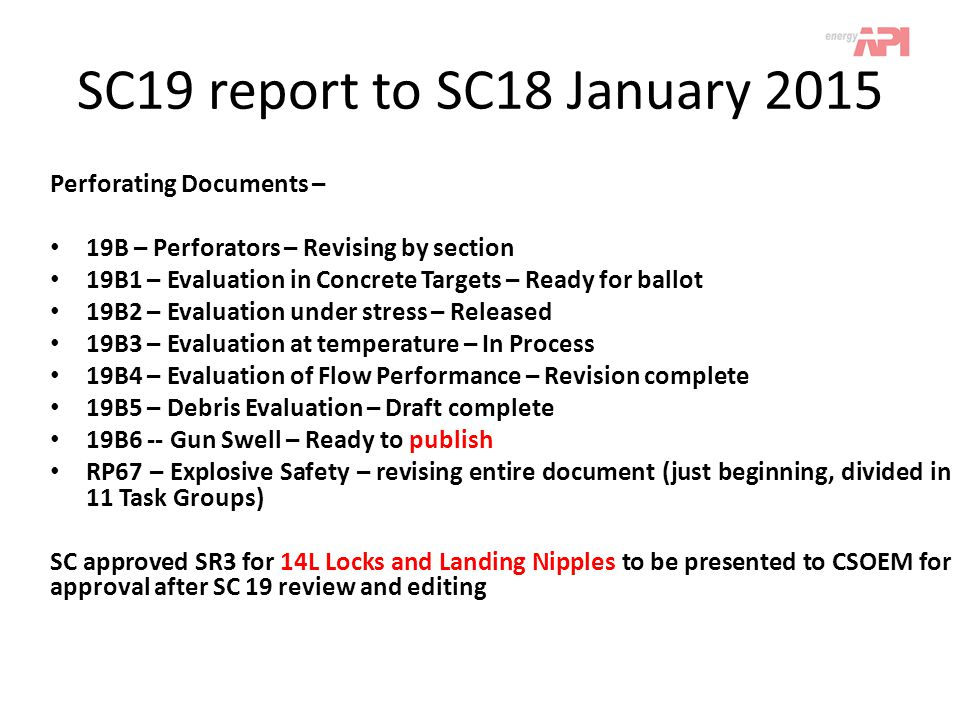 SC19 report to SC18 January 2015 Perforating Documents –