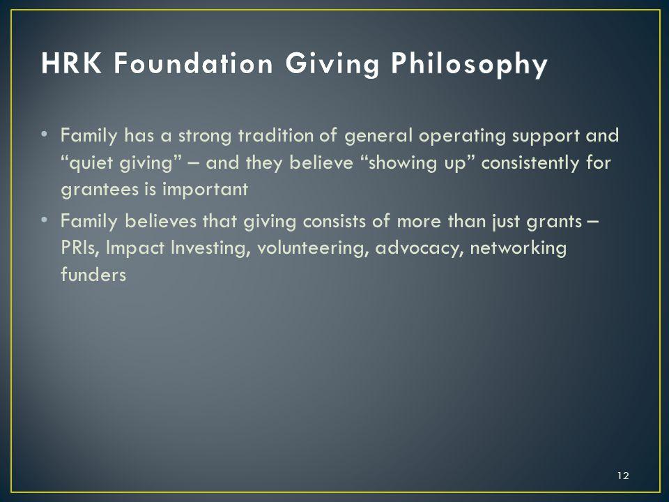 HRK Foundation Giving Philosophy