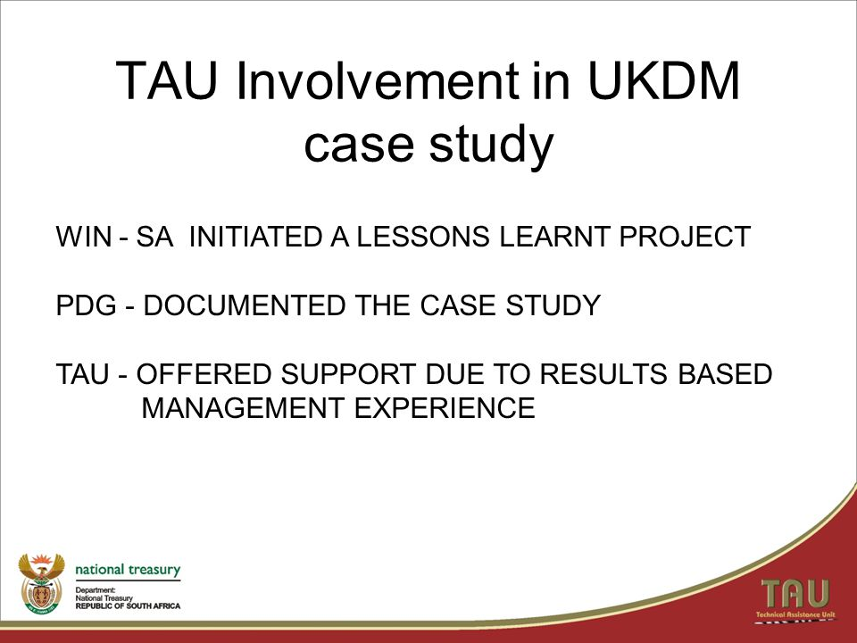 TAU Involvement in UKDM case study