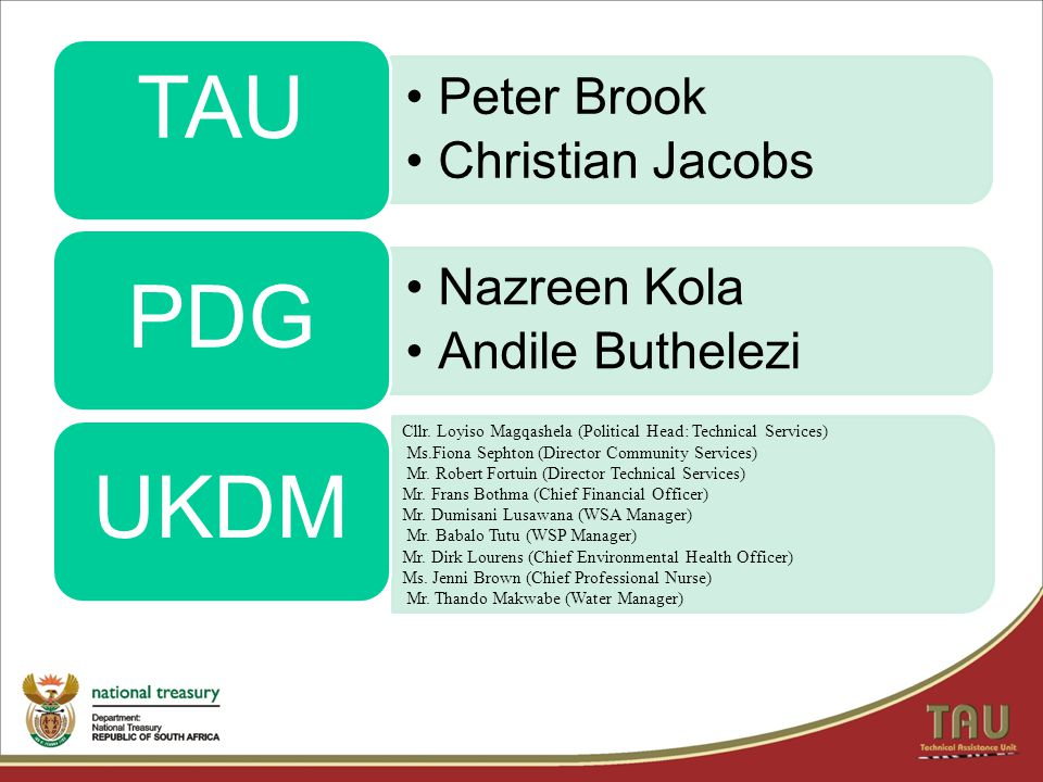 TAU PDG UKDM Peter Brook Christian Jacobs Nazreen Kola
