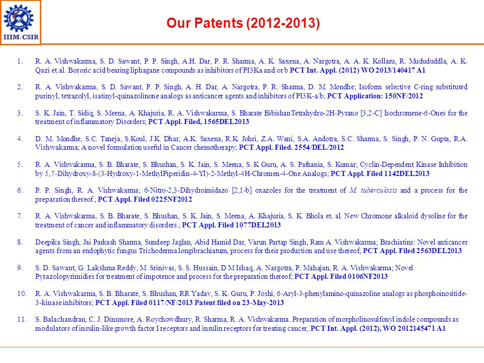 Our Patents (2012-2013)
