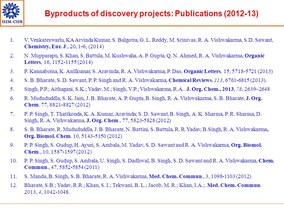 Byproducts of discovery projects: Publications (2012-13)
