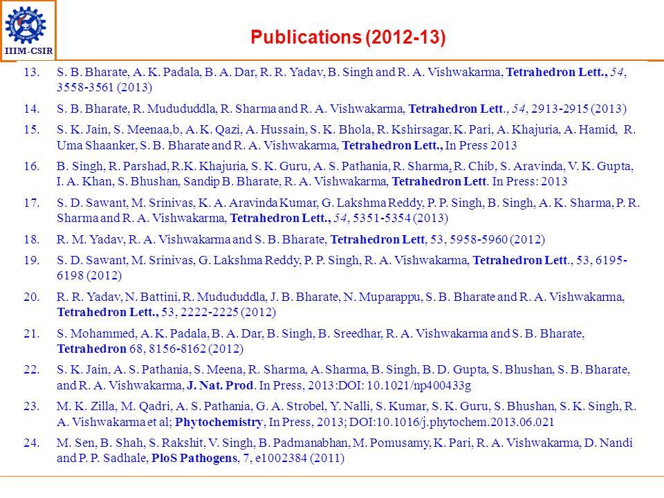 Publications (2012-13) S. B. Bharate, A. K. Padala, B. A. Dar, R. R. Yadav, B. Singh and R. A. Vishwakarma, Tetrahedron Lett., 54, 3558-3561 (2013)
