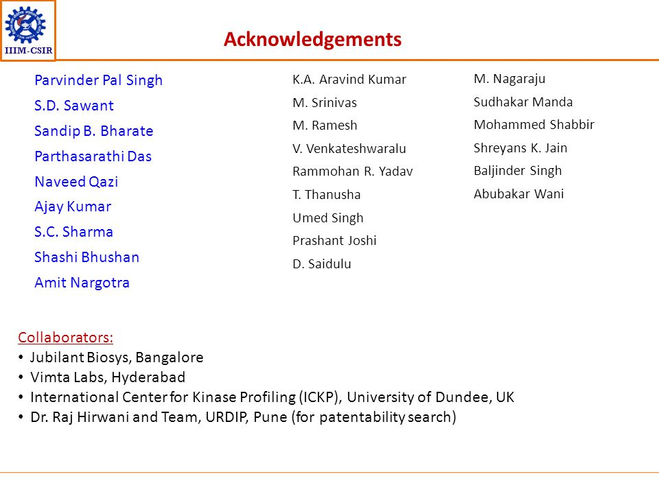 Acknowledgements Parvinder Pal Singh S.D. Sawant Sandip B. Bharate