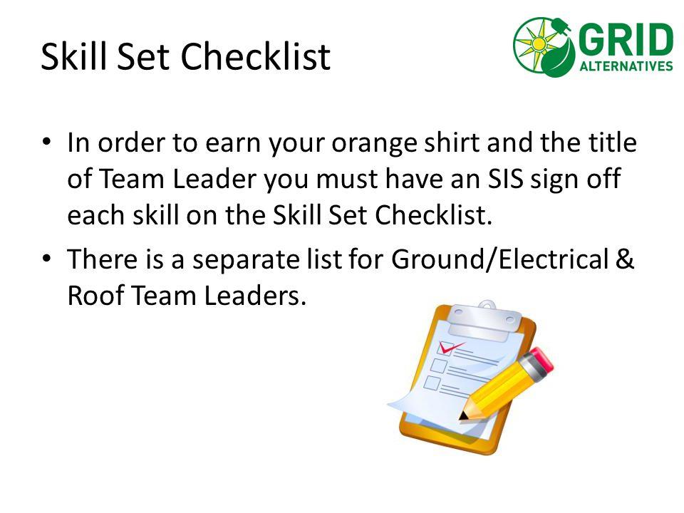 Skill Set Checklist