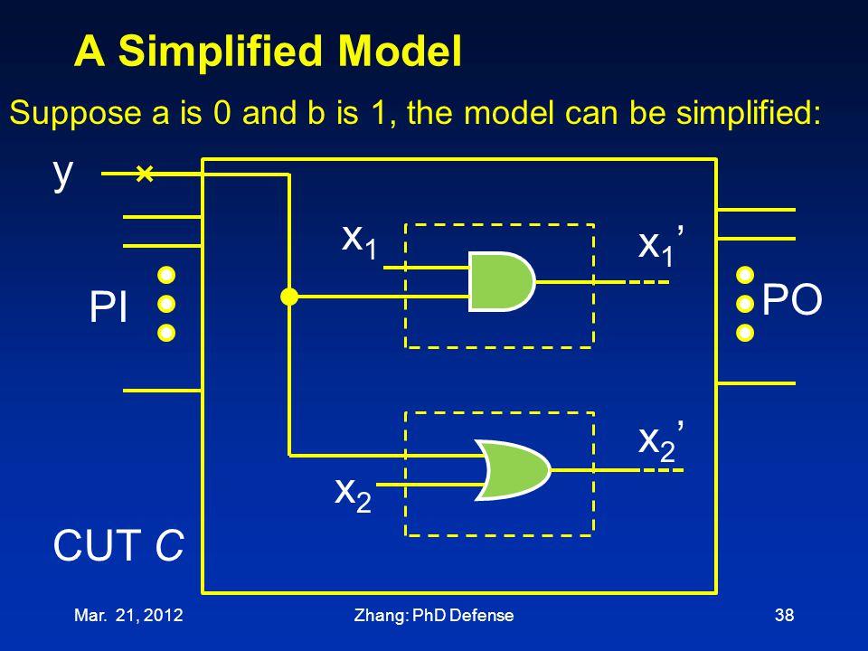 A Simplified Model y x1 x1' PO PI x2' x2 CUT C