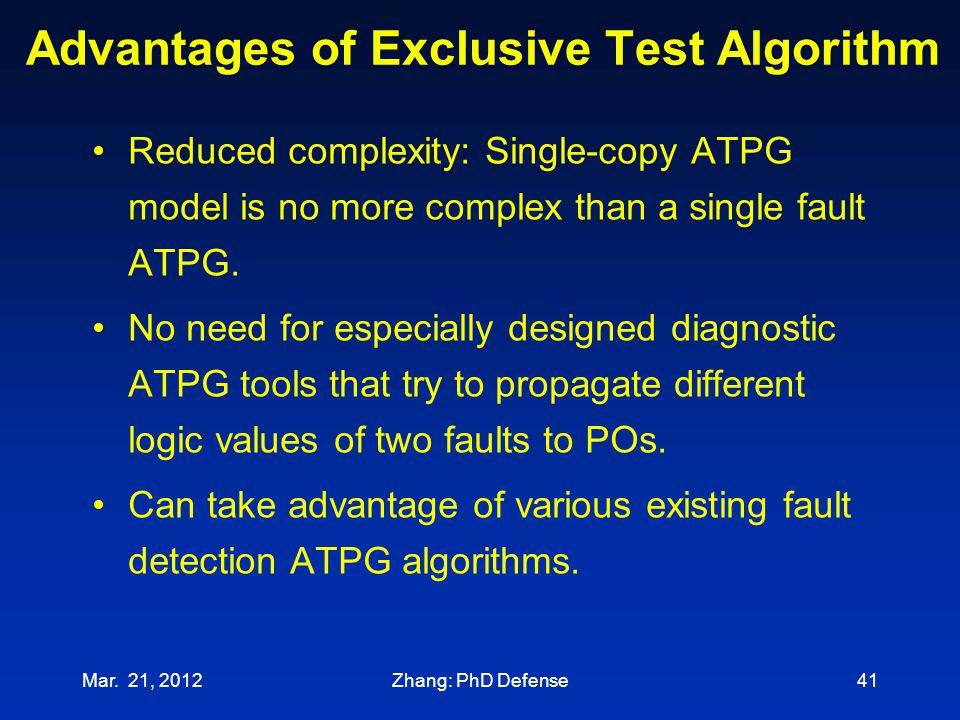 Advantages of Exclusive Test Algorithm
