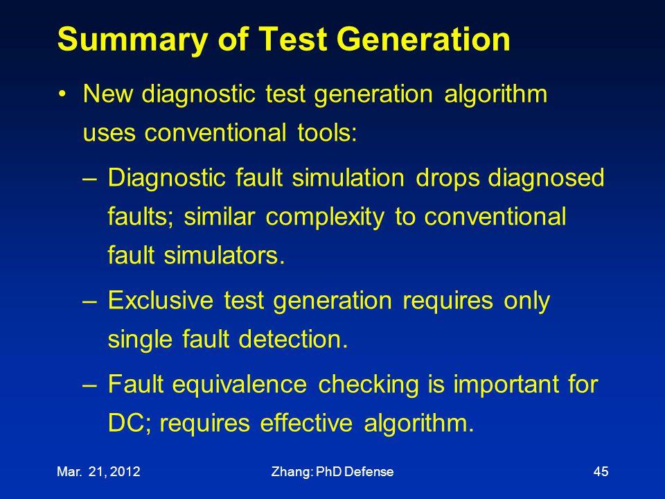 Summary of Test Generation