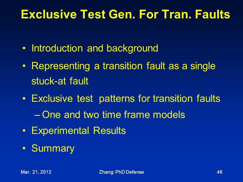 Exclusive Test Gen. For Tran. Faults