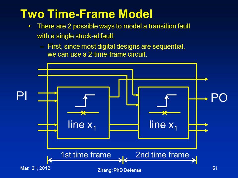 Two Time-Frame Model PI PO line x1 line x1 1st time frame
