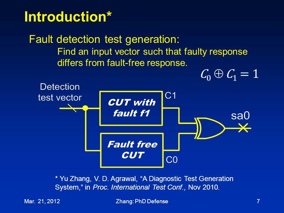 Introduction* C0  C1 = 1 Fault detection test generation: