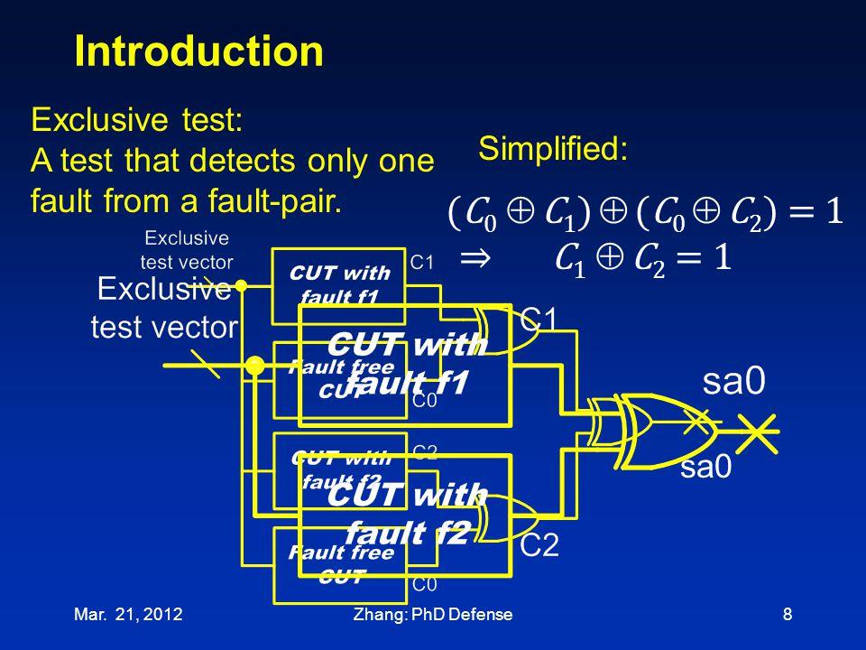 Introduction (C0  C1)  (C0  C2) = 1 ⇒ C1  C2 = 1 Exclusive test: