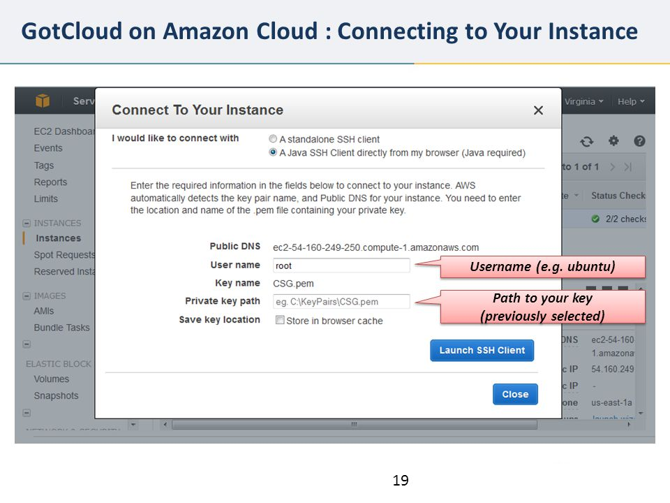 GotCloud on Amazon Cloud : Connecting to Your Instance