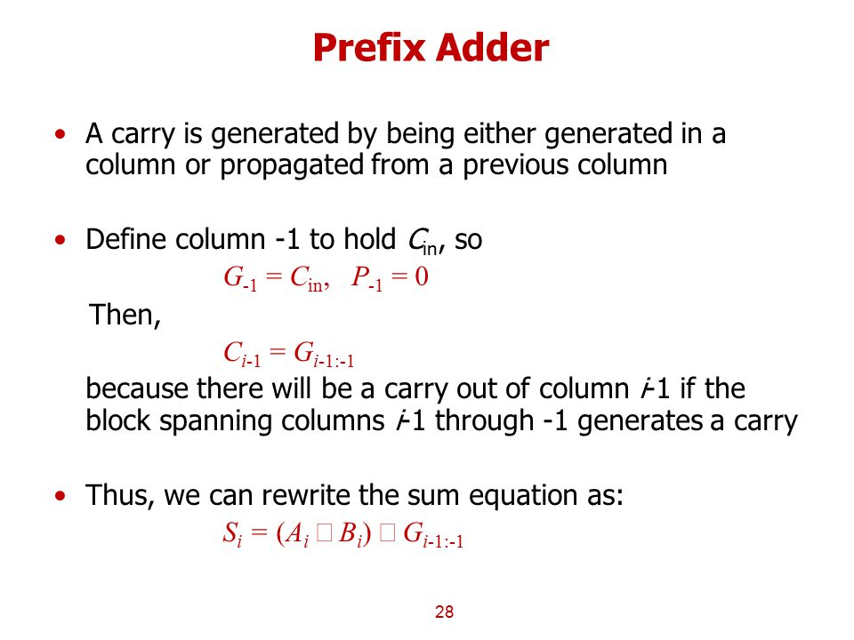 Prefix Adder A carry is generated by being either generated in a column or propagated from a previous column.