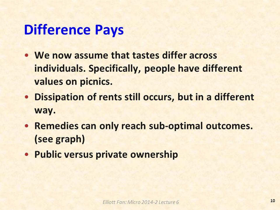 Difference Pays We now assume that tastes differ across individuals. Specifically, people have different values on picnics.