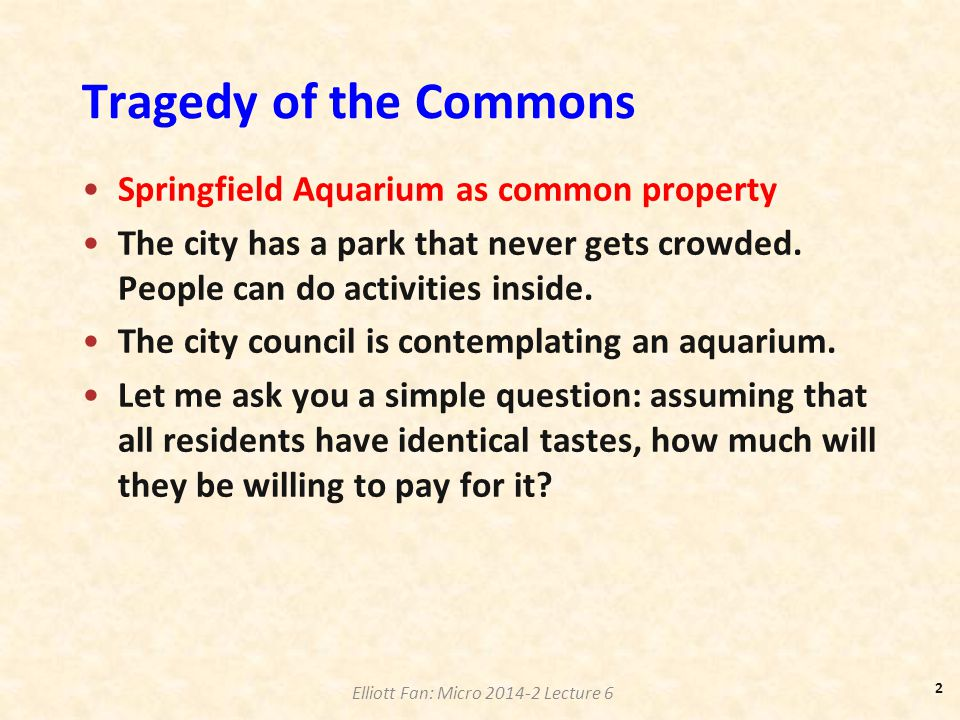 Tragedy of the Commons Springfield Aquarium as common property