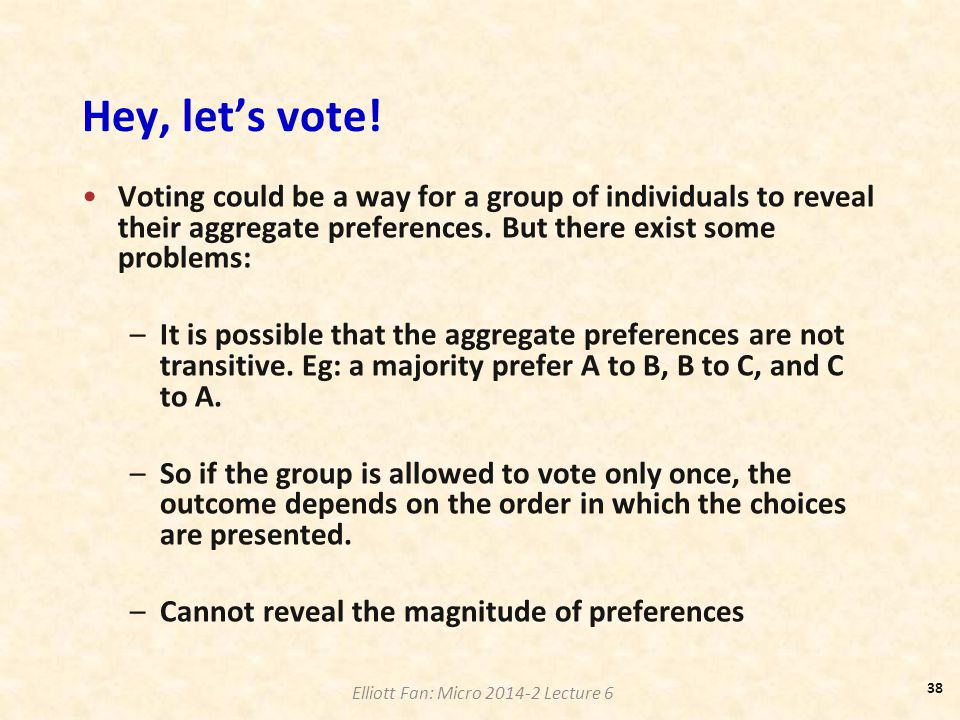 Hey, let's vote! Voting could be a way for a group of individuals to reveal their aggregate preferences. But there exist some problems: