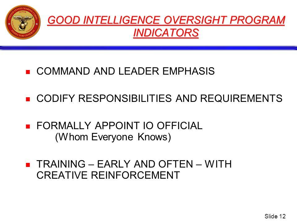 GOOD INTELLIGENCE OVERSIGHT PROGRAM INDICATORS