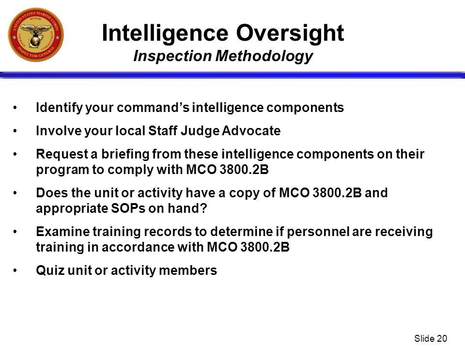 Intelligence Oversight Inspection Methodology